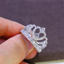 Fashion Crown White Sapphire Birthstone Silver Filled Wedding Bridal Ring Sz6-10