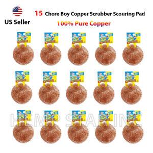 15 Chore Boy Copper Scrubber Scouring Pad 100% Pure Copper Pure Copper (15-Pack)