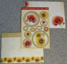 HUNKYDORY 3 SHEET CARD PROJECT KIT - POPPIES & SUNFLOWERS