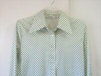 vintage 70s womens green polka dot SHIRT TOP BLOUSE big collar polyester L LARGE