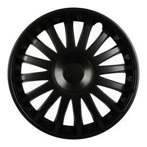 """Seat Hubcaps Crystal Matte Black 15 """" Inch"""