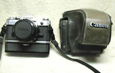 CANON AE-1 SLR Film Camera, w/ 50mm FD Lens, Power Winder A & RARE Leather CASE