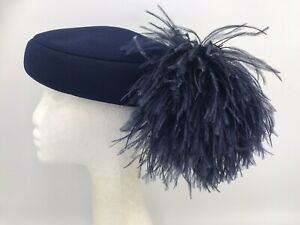 Ladies Vintage Navy Blue Polyester Pill Box Hat with Ostrich Feathers  (10173)