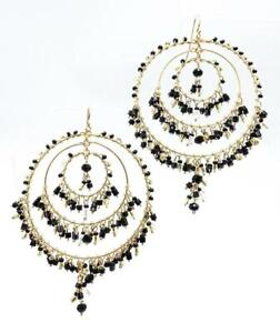 EXQUISITE Black Onyx Smoky Citrine Crystals Gold Triple Ring Chandelier Earrings