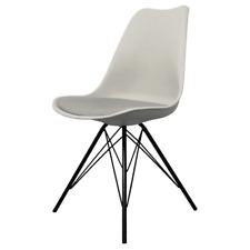 Fusion Living Eiffel Inspired Light Grey Plastic Dining Chair- Various Leg Bases