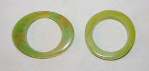 Set of 2  Green  Bakelite Napkin Rings