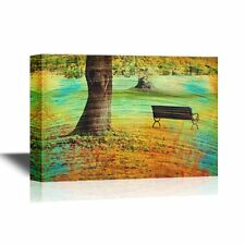 wall26 - Canvas Wall Art - Bench and Oak in City Park in the Autumn - 32x48