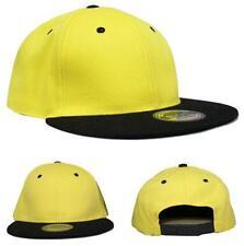 100% Cotton Flat Peak Two Tone Snapback Baseball Cap Yellow/Black