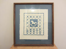 Mary Rutherford ROCKING HORSE Signed Nursery ABC Sampler Quilt Print Plaque Nice