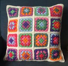 """Handmade Crochet Granny Square Cushion Cover Multi Bright Cream 18"""""""