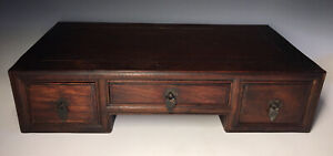 Antique Chinese Qing Dynasty Hardwood Huanghuali Low Altar Drawer Cabinet Kang