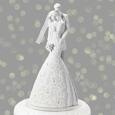 "Gina Freehi Language of Love ""Cherish""  9"" Bride & Groom Cake Topper Wedding"