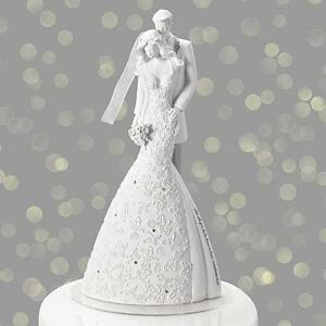 "Gina Freehi Language of Love ""Cherish""  9"" Bride & Groom Cake Top Topper Wedding"
