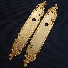 2 Plaques Porte Bronze Doré Laiton Massif Fabric Luxe France  28,5x 5 Cm 465 Grs