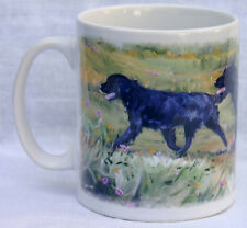 FLAT COATED RETRIEVER GUNDOG DOG MUG OIL PAINTING PRINT SANDRA COEN ARTIST