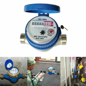 UK 15mm 1/2 inch Cold Water Meter Flow Water Converter with Free Brass Fittings