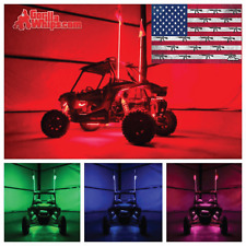 LED Lighted 6' Whip with WIRELESS Remote- ATV UTV RZR w/American guns Flag