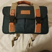 Vintage CANON Camera Bag Green Many Pockets Carrying Case and Bonus camera