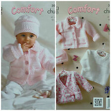 KNITTING PATTERN Baby Easy Knit Cardigan Jacket Jumper & Hat Comfort Chunky 3044