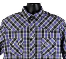 Mens Wrangler Western Pearl Snap Shirt XLT Purple Plaid Rockabilly Rodeo EUC