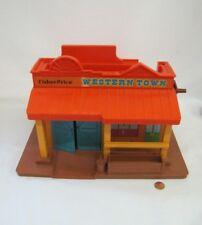 Vintage Fisher Price Little People FAMILY WESTERN TOWN PLAYSET BUILDING #934
