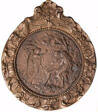 "Antique English Bronze Copper Relief Plaque ""Adam & Eve"", Gesso Frame, BEAUTIFUL"