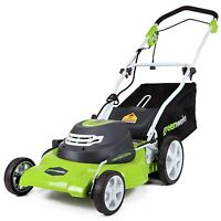 """GreenWorks 12 Amp Corded 20"""" Compact Electric Push Lawn Mower Light Bag Mulcher"""
