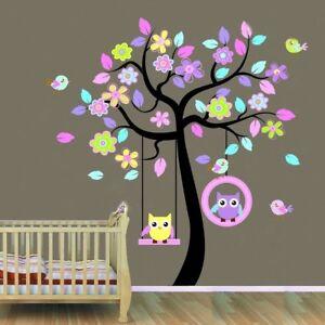 Huge Swing Owl Birds Colourful Scroll Tree Wall Art Decal Stickers Nursery Mural