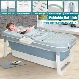 1.5M Folding Bathtub Adult Bathroom Shower Warm Spa Sauna Soaking Bat