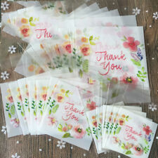 100pcs Thank You Flower Pattern Self Adhesive DIY Cookie Plastic Christmas Bags