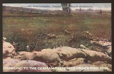 WW1. Crawling To The German Trenches Under Fire  D.Mail Battle Pictures Postcard