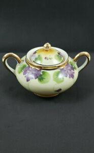SHOFU Antique Hand Painted Porcelain Sugar Bowl with Handles Gold Trim Japan