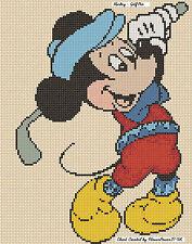 Cross stitch chart-Mickey Mouse GOLF PRO-Flowerpower 37-uk GRATIS UK P & P