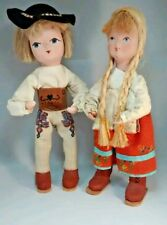 2 Vintage Polish Paper Mache Dolls With Painted Faces - Made In Poland?