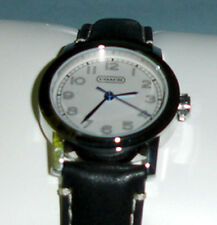 Coach Bleeker Ladies Watch Silver Stainless Case Black Leather Band 14500899 New