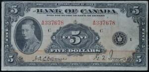 1935 Canada $5 Note Circulated No Reserve Auction .99C Opening Bid