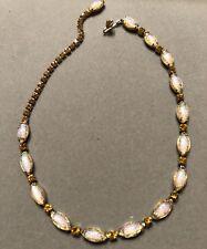 "Vtg Harlequin Foil Opal Art Glass & Yellow Topaz Rhinestone 16"" Choker Necklace"
