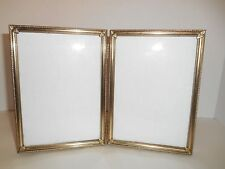 Vintage Metal Embossed Double Bi-fold Hinged Picture Photo Frame 5 x 7 in.