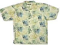 ORIGINAL ISLAND SPORT S/S Button SILK Camp Shirt Floral Hawaiian ~ Men's L