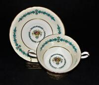 Aynsley CAMBRIDGE Cream Soup Bowl & Saucer Liner Set 7818 Turquoise