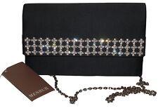 Menbur Black Satin Evening Bag Shoulder or Clutch NWT SP £65