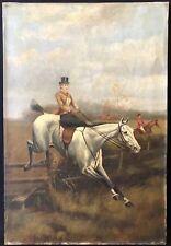 Ecole anglaise écuyère  anonyme vers 1875 XIXe Cheval Chevaux XIXe équitation
