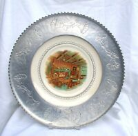 Vintage Farberware Hand Wrought Aluminum Serving Tray Plate Colonial Scene
