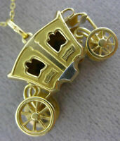 ANTIQUE LARGE 18KT YELLOW GOLD HANDCRAFTED PRINCESS CHARIOT CHARM PENDANT #26183