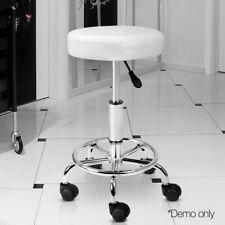 Swivel Stool Salon Chair Round Seat Wheels Hairdressing Beauty Barber, White