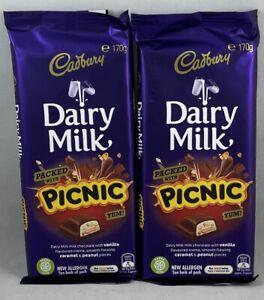 2x Cadbury Picnic Block 170g Milk Vanilla & Caramel Peanut Choc Australian 🇦🇺