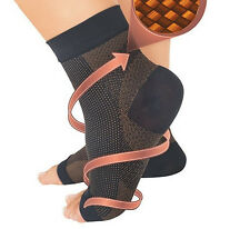 1Pair Copper Fiber Compression Relief Ankle Support Foot Sleeve Socks Open Toe