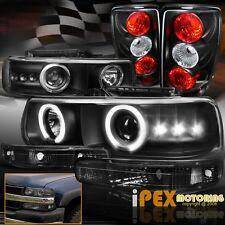 00-06 Chevy Suburban Tahoe Halo Projector Headlights + Bumper + Tail Light Black