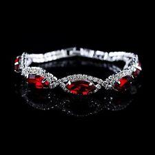 Bracciale braccialetto argento cristalli rosso ,donna elegante,Fashion Paris 2