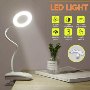 LED USB Clip On Flexible Desk Lamp Dimmable Memory Bed Read Table Learning Light